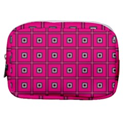 Pink Pattern Squares Make Up Pouch (small)