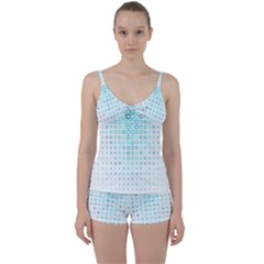Plaid Green Tie Front Two Piece Tankini
