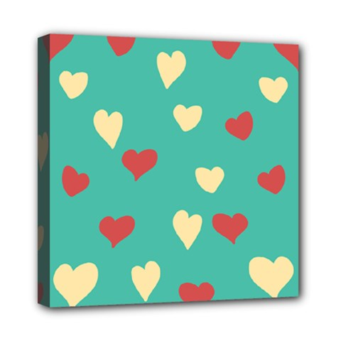 Love Heart Valentine Mini Canvas 8  X 8  (stretched)