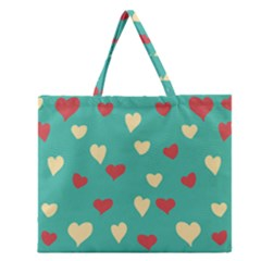 Love Heart Valentine Zipper Large Tote Bag by AnjaniArt