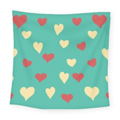 Love Heart Valentine Square Tapestry (large) by AnjaniArt