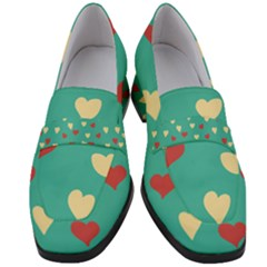 Love Heart Valentine Women s Chunky Heel Loafers by AnjaniArt
