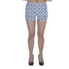Mesh Pattern Grid Line Skinny Shorts by AnjaniArt