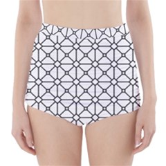 Mesh Pattern Grid Line High Waisted Bikini Bottoms