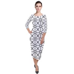 Mesh Pattern Grid Line Quarter Sleeve Midi Velour Bodycon Dress by AnjaniArt