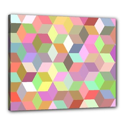 Mosaic Background Cube Pattern Canvas 24  X 20  (stretched)