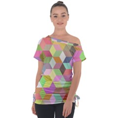 Mosaic Background Cube Pattern Tie Up Tee by AnjaniArt