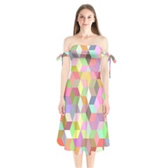Mosaic Background Cube Pattern Shoulder Tie Bardot Midi Dress by AnjaniArt