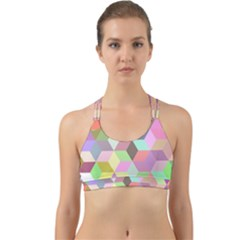 Mosaic Background Cube Pattern Back Web Sports Bra by AnjaniArt