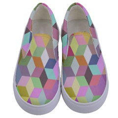 Mosaic Background Cube Pattern Kids  Canvas Slip Ons