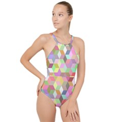 Mosaic Background Cube Pattern High Neck One Piece Swimsuit