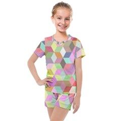 Mosaic Background Cube Pattern Kids  Mesh Tee And Shorts Set by AnjaniArt