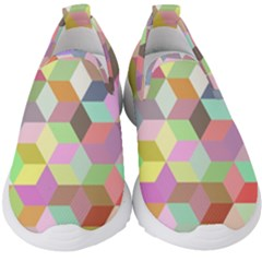 Mosaic Background Cube Pattern Kids  Slip On Sneakers by AnjaniArt