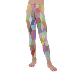Mosaic Background Cube Pattern Kids  Lightweight Velour Leggings by AnjaniArt