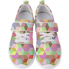 Mosaic Background Cube Pattern Men s Velcro Strap Shoes by AnjaniArt