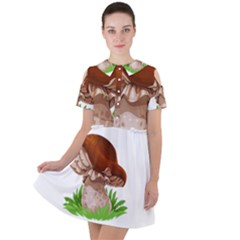 Mushroom Short Sleeve Shoulder Cut Out Dress  by AnjaniArt