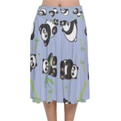 Panda Tile Cute Pattern Velvet Flared Midi Skirt by AnjaniArt