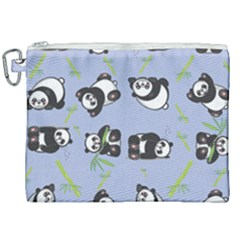 Panda Tile Cute Pattern Canvas Cosmetic Bag (xxl) by AnjaniArt