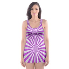 Purple Abstract Background Skater Dress Swimsuit by AnjaniArt