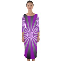 Purple Abstract Background Quarter Sleeve Midi Bodycon Dress by AnjaniArt