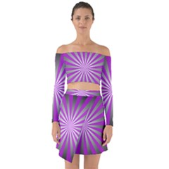 Purple Abstract Background Off Shoulder Top With Skirt Set
