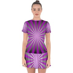 Purple Abstract Background Drop Hem Mini Chiffon Dress