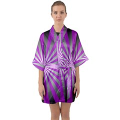 Purple Abstract Background Quarter Sleeve Kimono Robe by AnjaniArt