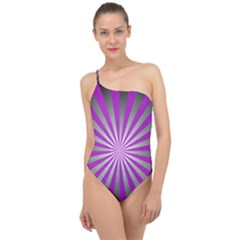 Purple Abstract Background Classic One Shoulder Swimsuit by AnjaniArt