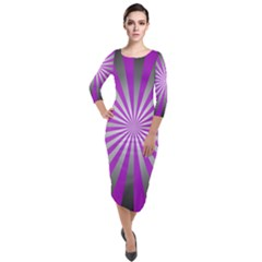 Purple Abstract Background Quarter Sleeve Midi Velour Bodycon Dress by AnjaniArt