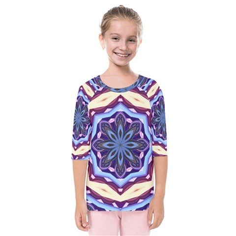 Mandala Kids  Quarter Sleeve Raglan Tee by AnjaniArt