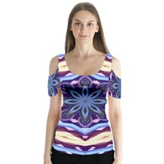 Mandala Butterfly Sleeve Cutout Tee  by AnjaniArt