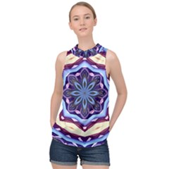 Mandala High Neck Satin Top by AnjaniArt