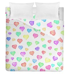 Love Hearts Shapes Duvet Cover Double Side (queen Size) by AnjaniArt