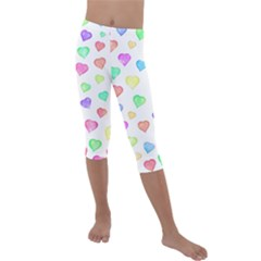 Love Hearts Shapes Kids  Lightweight Velour Capri Leggings  by AnjaniArt