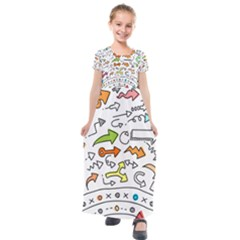Pattern Art Arrow Kids  Short Sleeve Maxi Dress by AnjaniArt