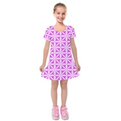 Magenta Wallpaper Seamless Pattern Kids  Short Sleeve Velvet Dress