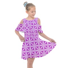 Magenta Wallpaper Seamless Pattern Kids  Shoulder Cutout Chiffon Dress by Jojostore