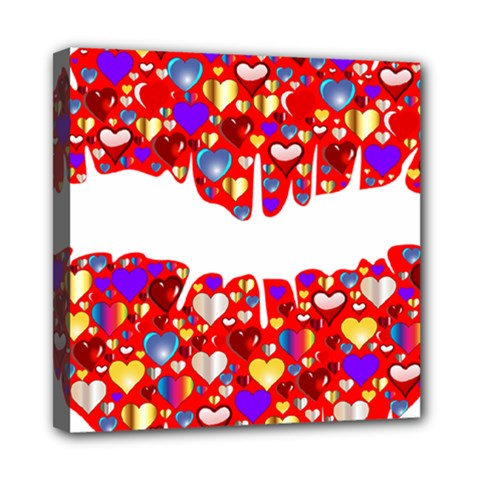 Heart Lips Kiss Romance Passion Mini Canvas 8  X 8  (stretched)