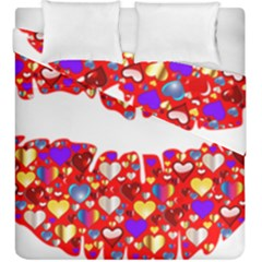 Heart Lips Kiss Romance Passion Duvet Cover Double Side (king Size) by Jojostore