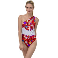 Heart Lips Kiss Romance Passion To One Side Swimsuit by Jojostore