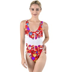 Heart Lips Kiss Romance Passion High Leg Strappy Swimsuit