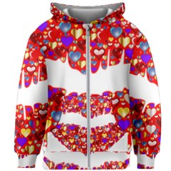 Heart Lips Kiss Romance Passion Kids  Zipper Hoodie Without Drawstring