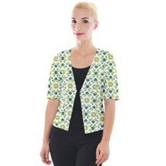Leaves Floral Flower Flourish Cropped Button Cardigan by Jojostore