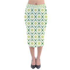 Leaves Floral Flower Flourish Velvet Midi Pencil Skirt