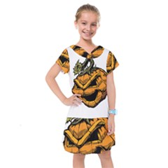 Lantern Halloween Pumpkin Illustration Kids  Drop Waist Dress by Jojostore