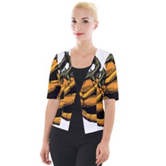 Lantern Halloween Pumpkin Illustration Cropped Button Cardigan