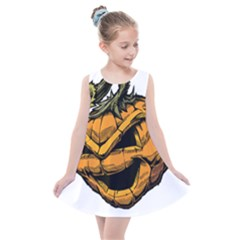 Lantern Halloween Pumpkin Illustration Kids  Summer Dress