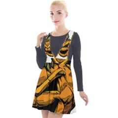 Lantern Halloween Pumpkin Illustration Plunge Pinafore Velour Dress