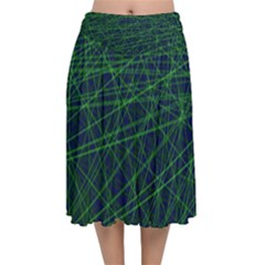 Line Geometric Blue Object Tinker Velvet Flared Midi Skirt