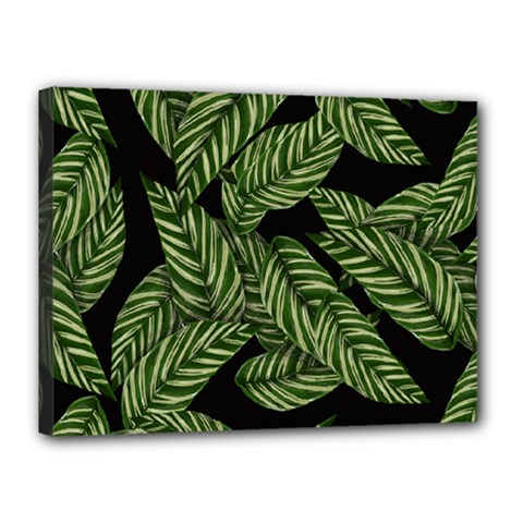 Leaves Black Background Pattern Canvas 16  X 12  (stretched)
